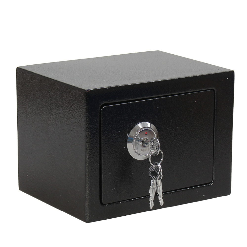 New Arrival Professional And Durable Strong Iron Steel Key Operated Security Money Cash Safe Box For Home Office Jewelry Black