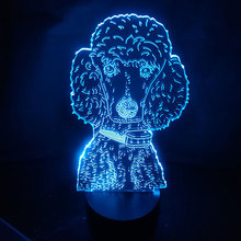 Cute Poodle Moulding Dog 3D Table Lamp Acrylic Panel USB Cable 7 Colors Change Touch Night Light Home Decor Kids Christmas Gift недорого