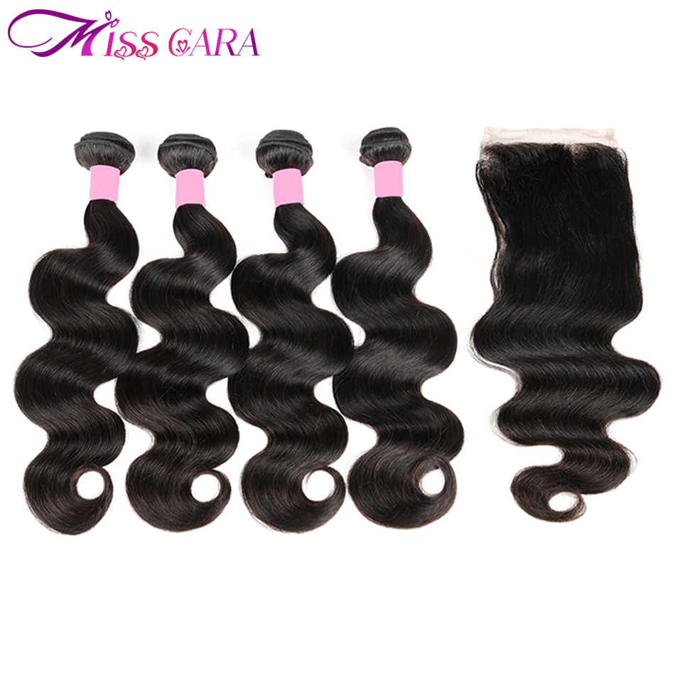 Peruvian Body Wave 4 Bundles With Closure 100% Human Hair Bundles With Closure 4*4 Middle/Free Part Closure Miss Cara Remy Hair