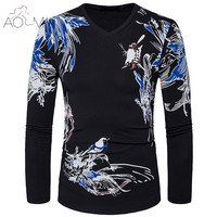 AOMU Spring Autumn Men S Oil Painting Birds Sublimated Long Sleeves Casual T Shirt New Fashion