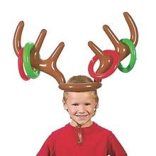 Оленьи рога Рождественская игрушка надувной олень Рождественская шляпа кольцо из оленьего рога бросать вечерние игрушки S7JN