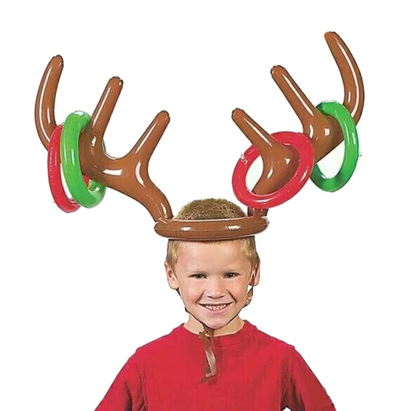 Reindeer Antler Christmas Toy Inflatable Reindeer Christmas Hat Antler Ring Toss Party Game Toys S7JN