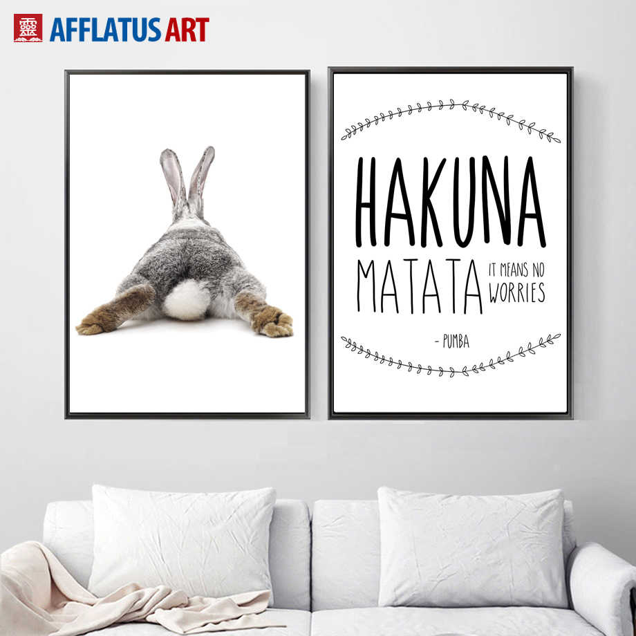 Black White Rabbit Matata Quotes Nordic Poster Wall Art Canvas Painting Posters And Prints Wall Pictures For Living Room Decor