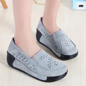 Image 5 - Hosteven Women Shoes Moccasins Loafers Sneakers Flat Platform Genuine Leather Summer Autumn Ladies Female Swing Hole Shoe