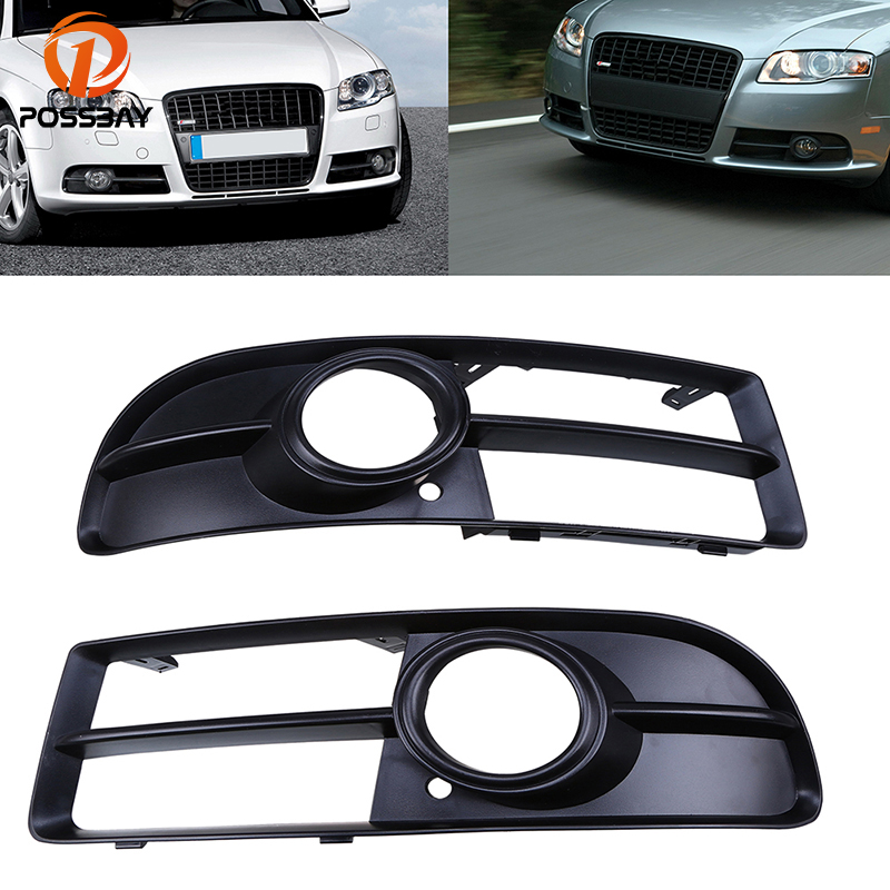 POSSBAY Left & Right 1 Pair Black Car Front Bumper Sport Grille Grill With Fog Light Cover For Audi A4 B7 Car Auto Lower Parts new 1 pair car left