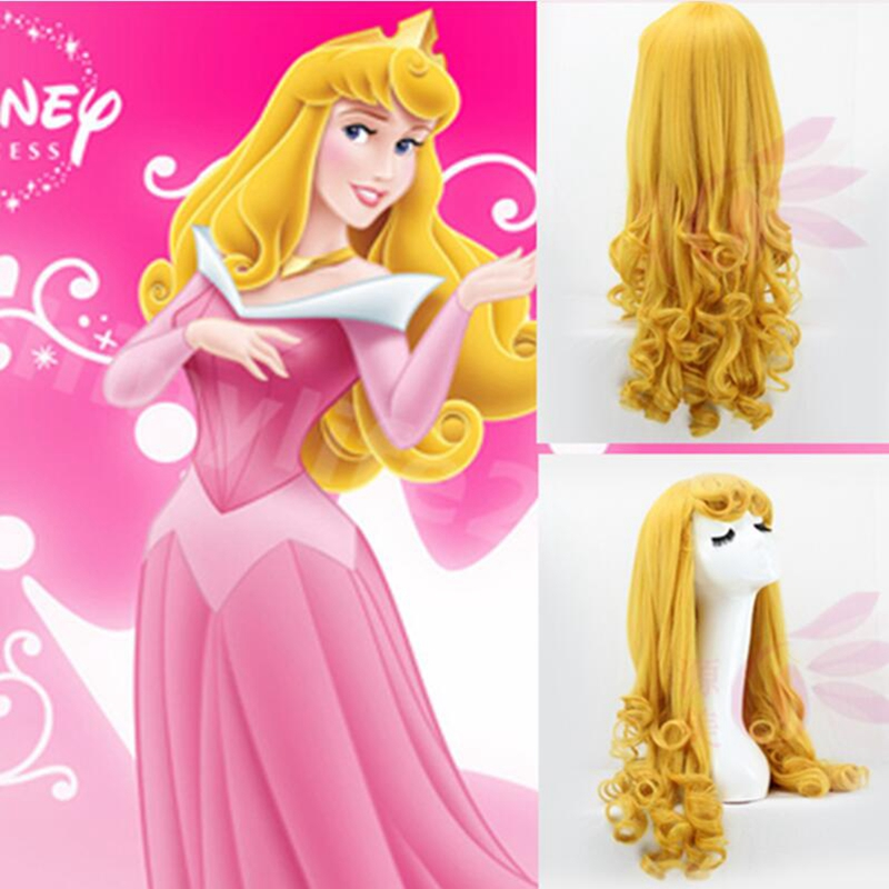 Sleeping Beauty Princess Aurora Wig Cosplay Costume Briar Rose Women Long Yellow Synthetic Hair Halloween Party Role Play Wigs