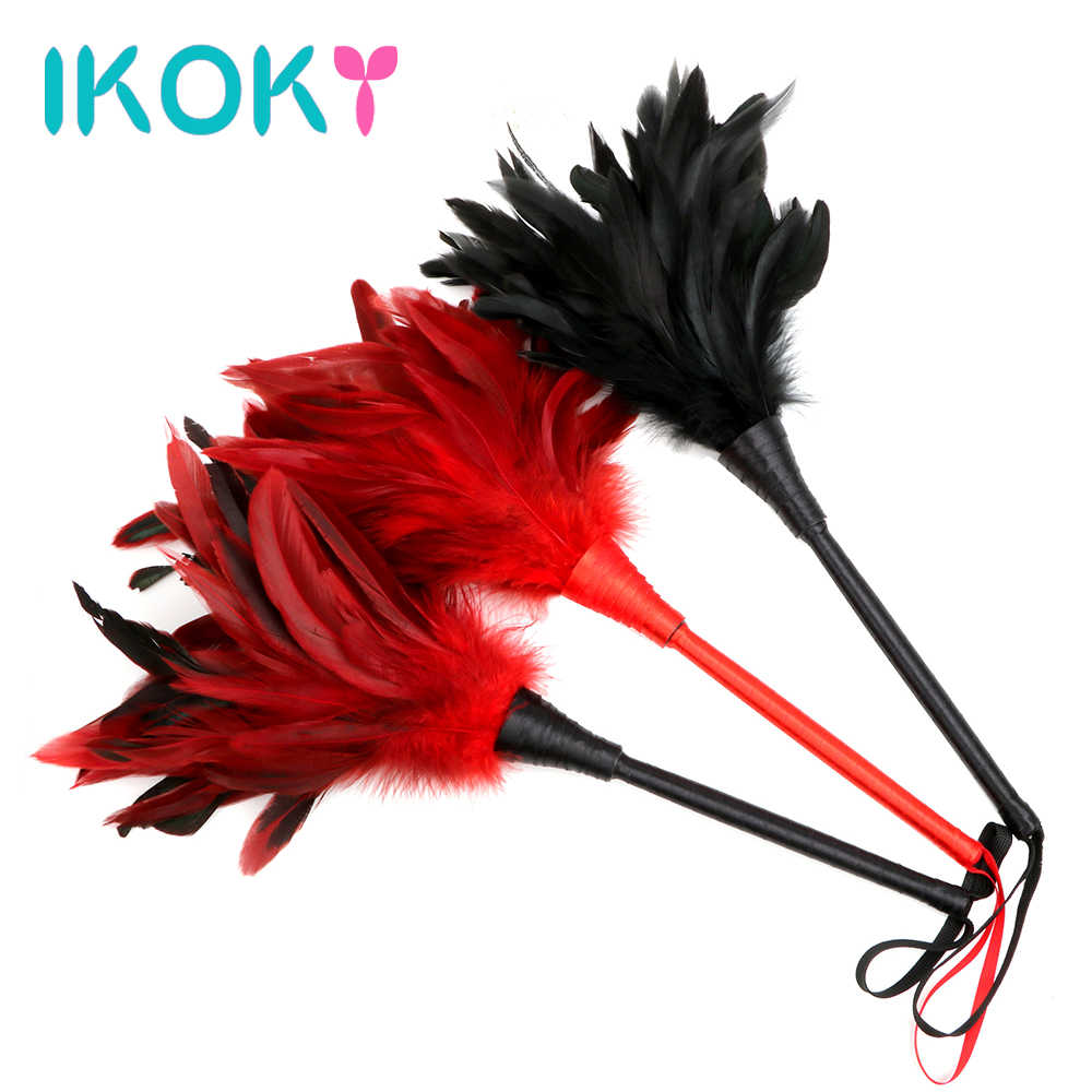 IKOKY Feather Sex Whip Clitoris Tick Massage Slave Role Play Flirting Spanking Bondage Adult Game Erotic Sex Toy For Couples