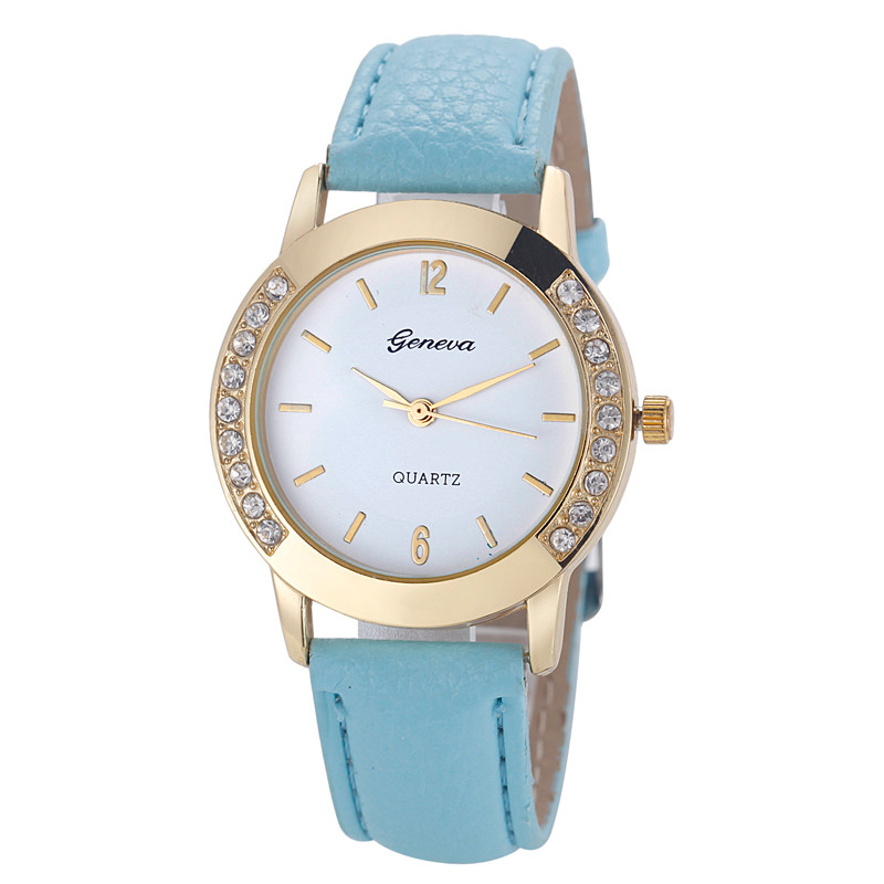 Wrist Watches For Women Luxury Fashion Diamond Gold Shell Round Dial PU Leather Alloy Quartz Ladies Watch Relojes De Mujer@YH614