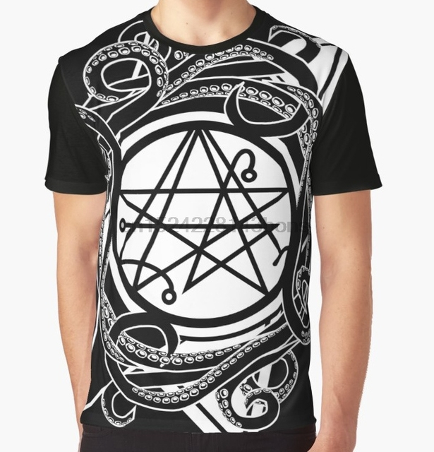 US $13 99 |All Over Print T Shirt Men Funy tshirt Necronomicon gate Sigil  of the gateway Graphic Tops Tee women t shirt-in T-Shirts from Men's