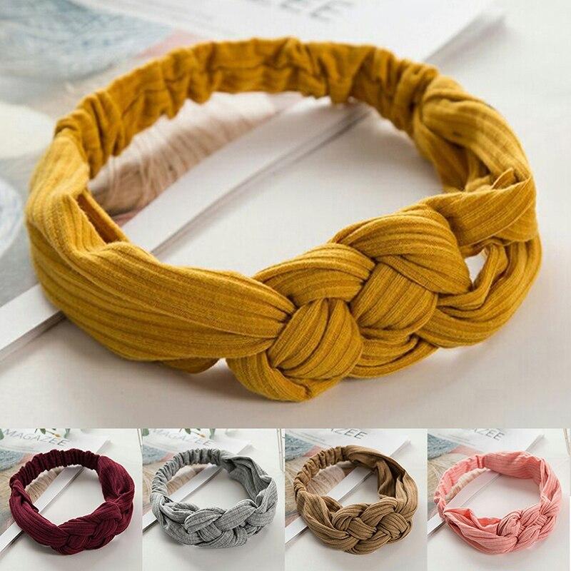 Women Girls Hair Fashion Knot Headband Turban Headwrap Braid Hairband Twist Cotton Elastic Head Band Bandage Hair Accessories