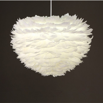 Nordic Romantic Art Feather Pendant Lamp Creative Lovely Bedroom Living Room Bar LED Feather Hanging Light Fixtures