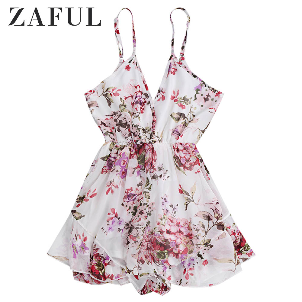ZAFUL Women   Jumpsuit   Summer Beach Rompers Boho Spaghetti Strap Floral Print Chiffon Romper Playsuit 2019 New Short Overalls
