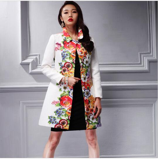 Outerwear Trench-Coat Jacquard Women Flower-Print Blue Plus-Size White Turn-Down-Collar