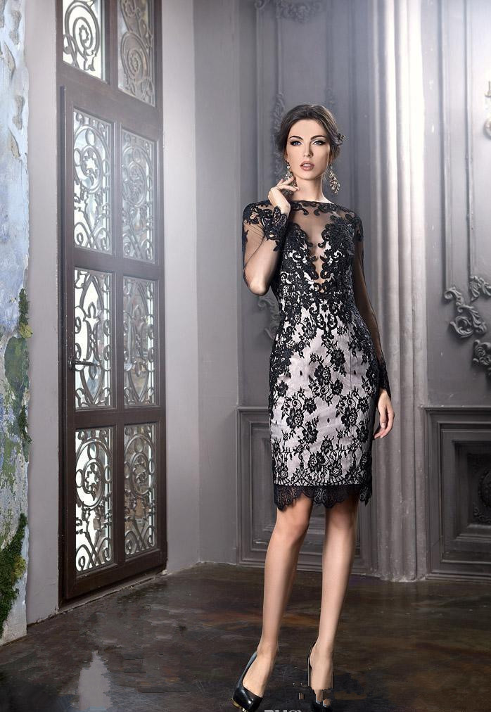 Black 2019 Mother Of The Bride Dresses Sheath Long Sleeves Lace Groom Short Wedding Party Dress Mother Dresses For Wedding