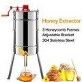 Пчеловодство, 3 рамки, ручные экстракторы меда, оборудование для пчеловодства, экстрактор пчелиного меда 304, нержавеющая сталь, принадлежнос...