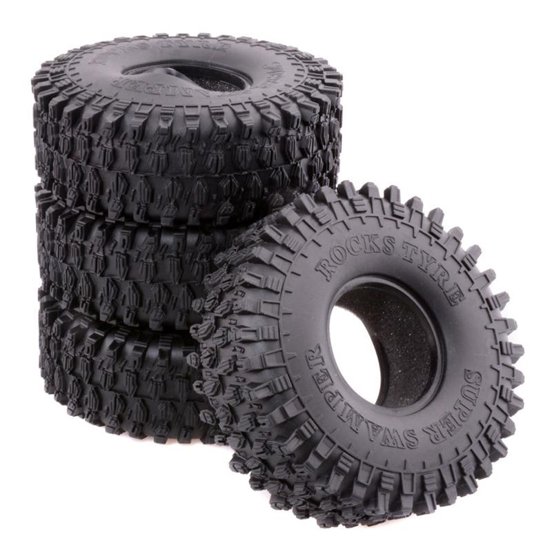 4PCS 1.9inches Wheel Tire 120mm Black Rubber Tires Rock Climbing Tires with Sponge Liner for Rock Crawler SCX10 D90 CC01 RC Car