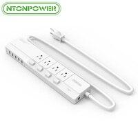 Ntonpower米国プラグコンセント電源タップで3 usb充電ポートスマートサージ保護付き4個別スイッチ5ft電源コー