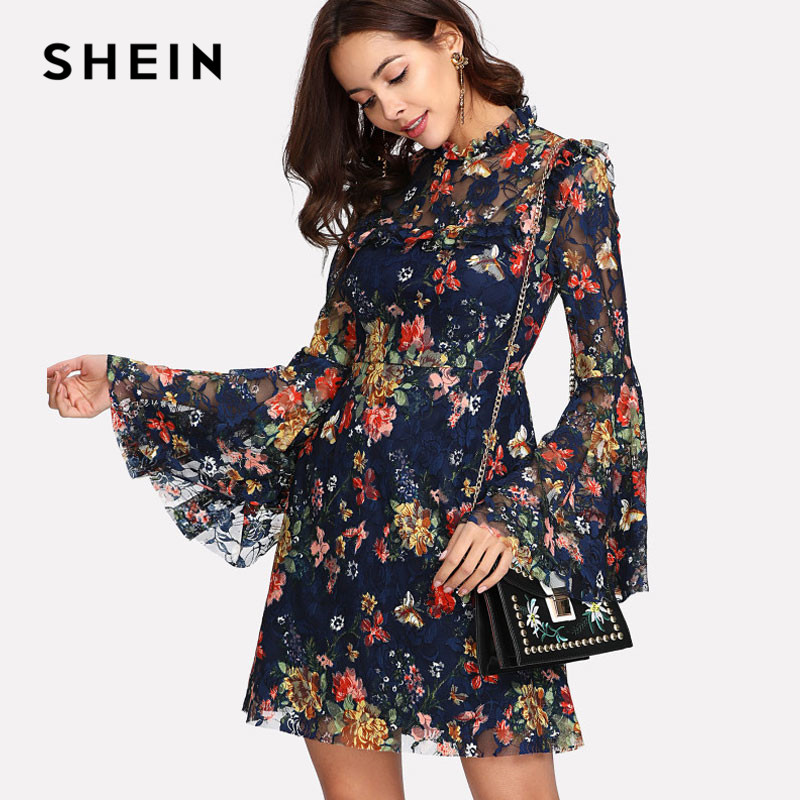 SHEIN Flower Print Swing A Line Summer Dress Long Sleeve Spring Multicolor Floral Calico Print Keyhole Back Bell Sleeve Dress contrast fishnet shoulder bell sleeve swing dress