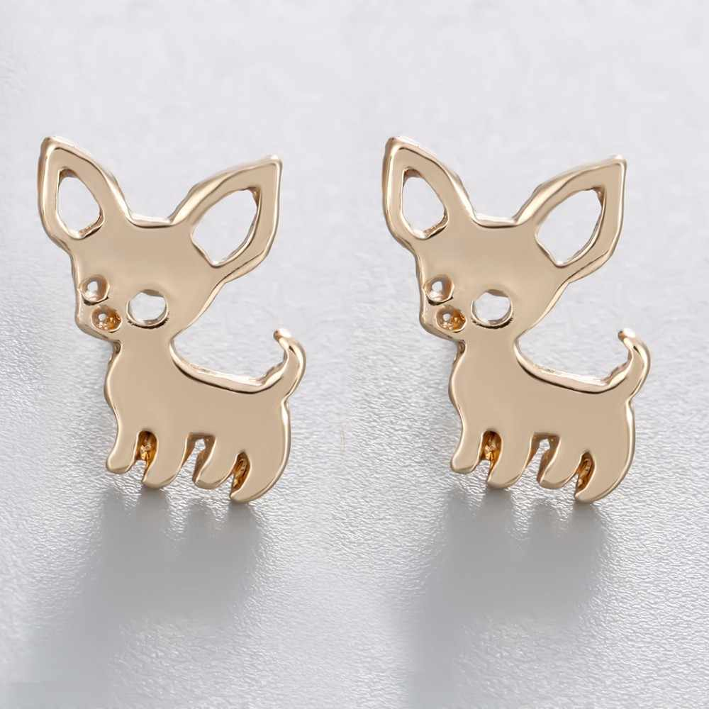 Kinitial Animal Chihuahua Baby Dog Earring Fashion Party Gold Silver Studs Earrings Accessories Jewelry For Kids Girls Cute Gift
