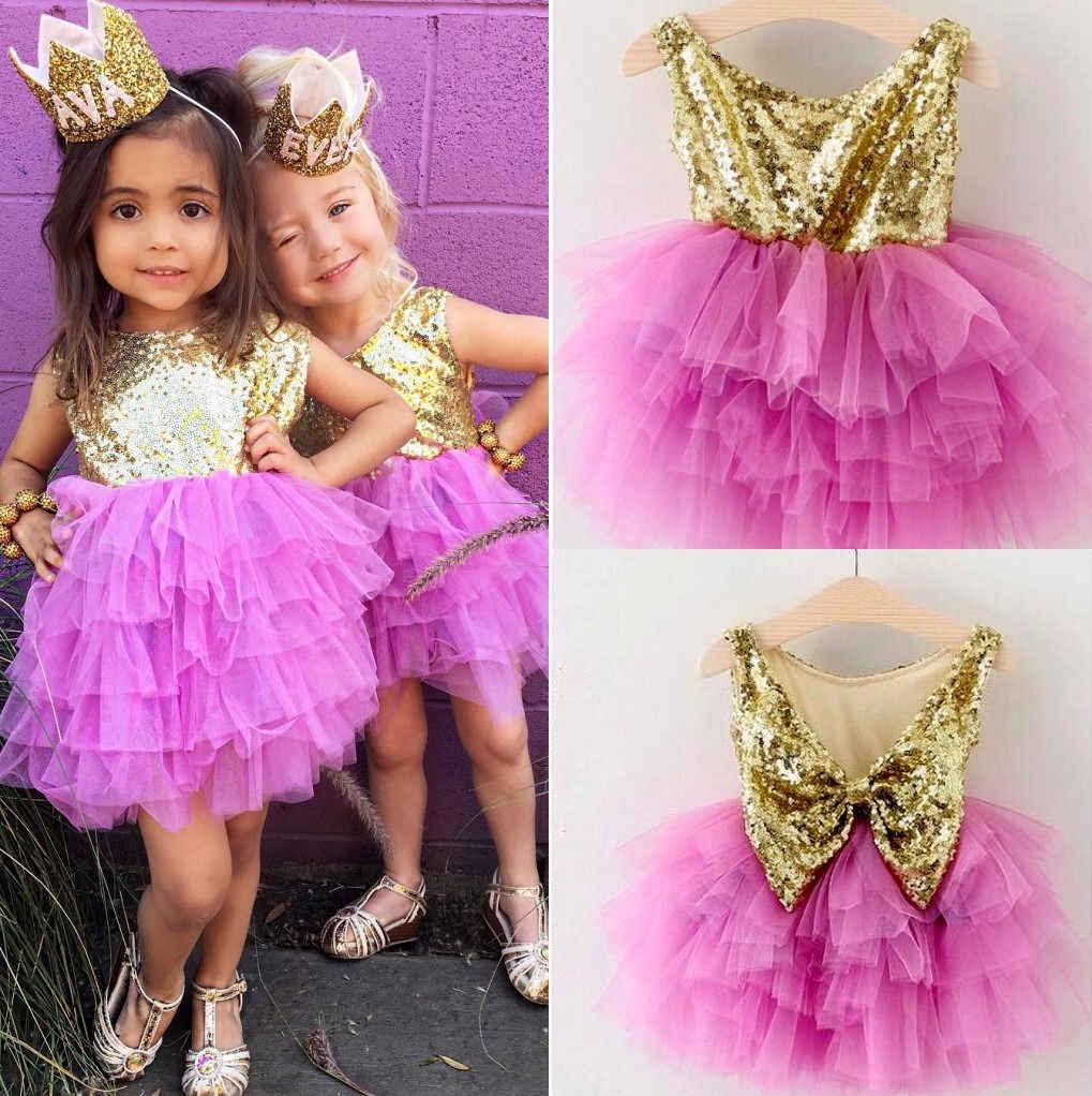 Одежда для новорожденных девочек с блестками платья принцессы плиссированное торжественное многослойное тюлевое вечернее платье для детей 2-7 лет