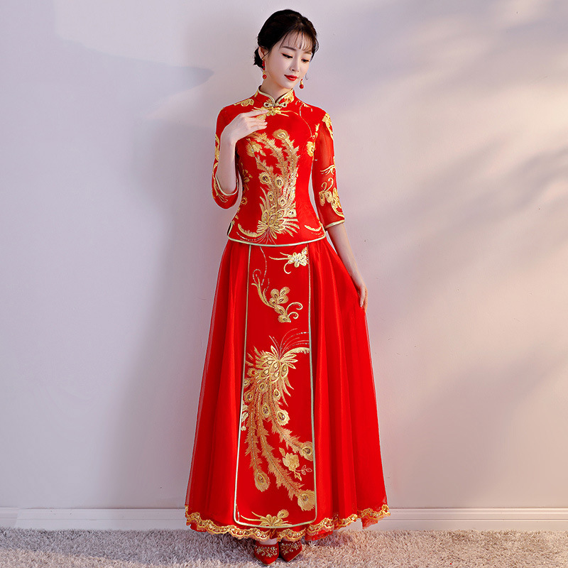 Big Size 3XL Oriental Bride Wedding Cheongsam Red Women Embroidery Cheongsam Suit Chinese Traditional Marriage Qipao