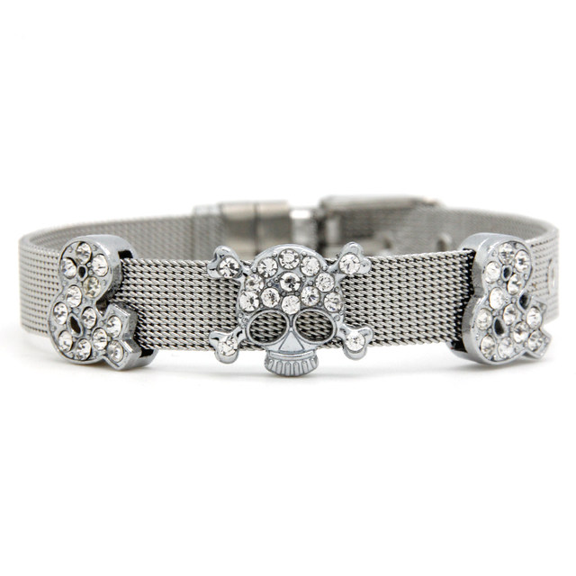 Whole Stainless Steel Slide Charm Bracelet With Skeleton Rhinestone Bead Wristband Scb039
