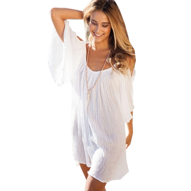 65c8ab0793d Women Beach Bikini Cover ups Dress 2017 Sexy White Strapless Dress Summer Swimsuit  Cover Up Beach Wear Dress Plus Size-in Cover-Ups from Sports ...