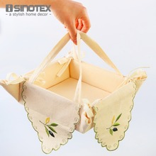 1pcs/lot Bread Box Embroidered Leaves Plant Snack Storage Box Bin Candy Basket Toast Container Folding Rectangle Rustic Breadbox
