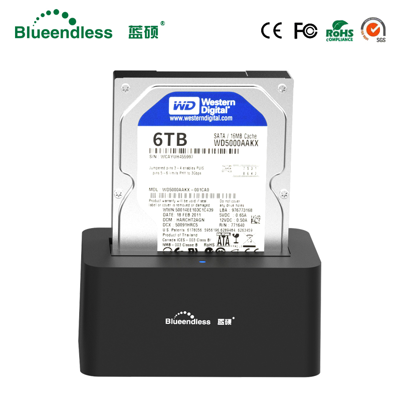 Blueendless HDD Docking Station 2.5'' 3.5'' HDD Enclosure Play 1 Bay USB3.0 Port SATA Interface Plug And  Support Max 8TB HDD