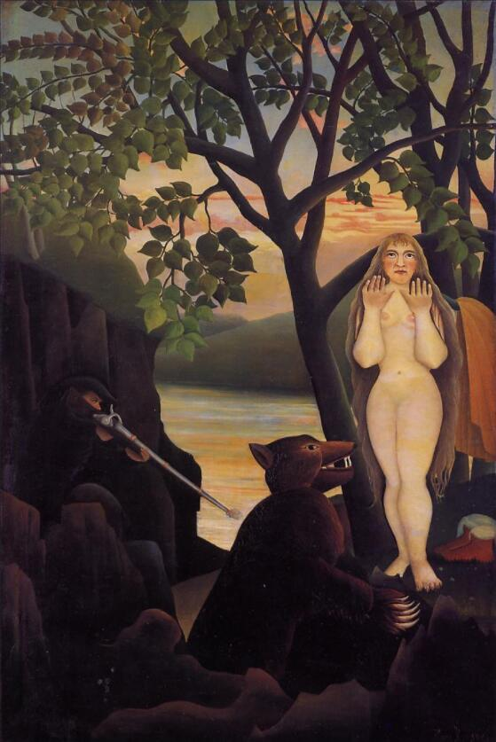 High quality Oil painting Canvas Reproductions Nude and Bear (1901) by Henri Rousseau painting hand paintedHigh quality Oil painting Canvas Reproductions Nude and Bear (1901) by Henri Rousseau painting hand painted