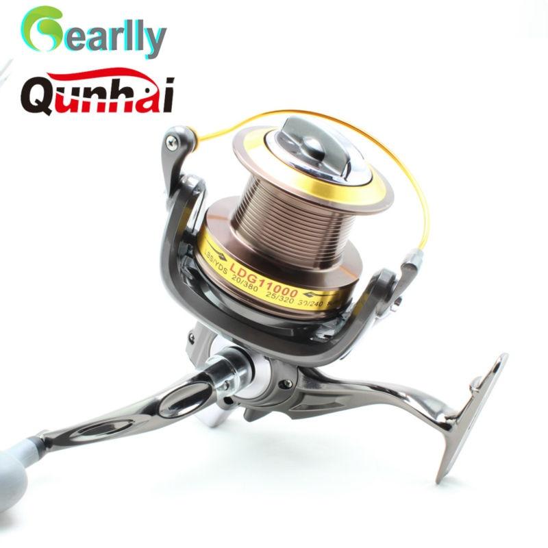 ФОТО Gearlly New Brand Qunhai spinning fishing reel 13BB LDG8000-11000  4.6:1 6BB Big Game Boat Distance Casting Shot