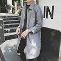 Nova Primavera Verão Homens Mulheres Trench Coat Blusão Jaqueta Cor Sólida Solto Mens Longo Casaco de Trincheira Magro