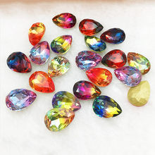 13X18mm New Color Teardrop Crystal Tourmaline K9 Fancy Stone Gradient  Tip Drill Shaped DIY Jewelry Handmade Accessories