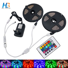 HBL RGB led strip light 5M 10M 2835 SMD non waterproof led light IP20 IP65 Flexible LED Strip adapter 24keys remote rgb full set(China)