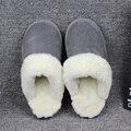 Natural de piel de Oveja Zapatillas de Casa Las Mujeres Furry Fur Zapatillas Para Hombre Invierno Deslizador de Interior de Lujo Amantes de la Casa Zapatillas de Gran Tamaño 35-44