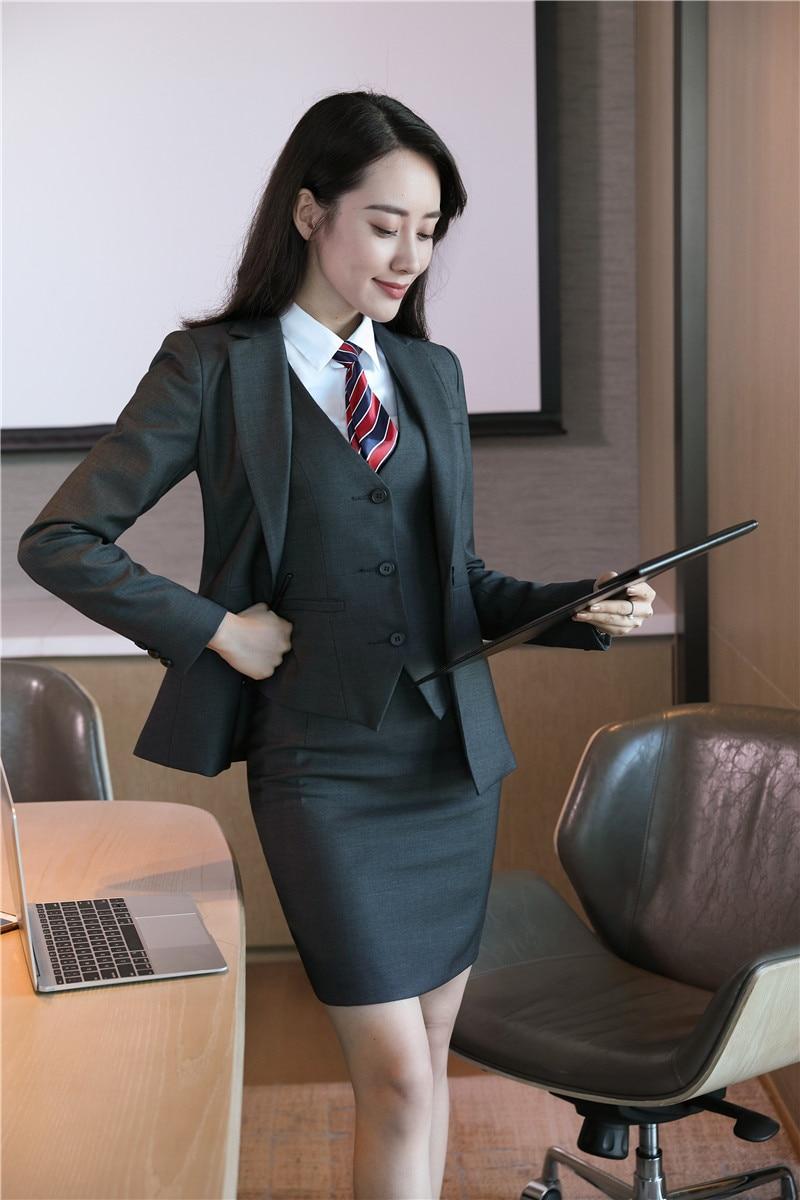 Gris Mode Blazers Jupe Conceptions Ensembles 4 Uniforme D'affaires 2 De Travail Haute 1 3 Qualité Femmes Bureau 5 Dames Costumes 6 Tissu Uniformes w8XqYfx