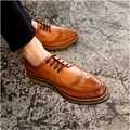 Mens Shoes Casual Brogue Brogue Shallow Mouth Soft Leather Internal Height Increase Men Shoes Cowhide Hollow Carved Spikes Solid