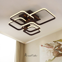 Black or White Modern LED ceiling lights for living dining bed room Rectangle remote control Dimming luxury ceiling lamp fixture
