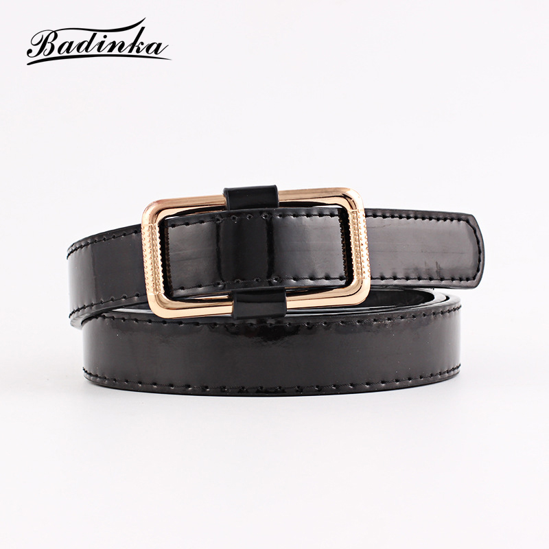Badinka 2018 New Womens Gold Black White Thin Faux PU Leather Belt Female Ladies Jeans Trouser Jeans Pant Lether Belts for Women