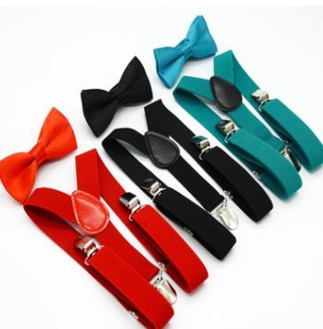 28sets lot children candy color Suspenders bowtie set kids Y Back Adjustable Elastic Boys Suspenders Bow