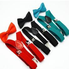 28 компл./лот, Детский комплект с подтяжками ярких цветов, с бантом, Детские регулируемые эластичные подтяжки галстук бабочка для мальчиков, 28 цветов на выбор