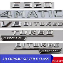 3D Chrome E CLASS W212 W213 สัญลักษณ์E200 E300 E320 E350 Letter Autoรถสติกเกอร์ป้ายโลโก้EmblemaสำหรับMersedes mercedes Benz AMG