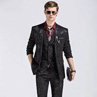 Jacket Pants Vest Men Blue Black Suits Wedding Prom Groom Suit Singer Show Nightclub Clothing