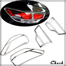 High Quality ABS Chrome For Toyota Highlander 2015 2016 Rear Tail Light Lamp Cover Trim 2pcs Car Styling