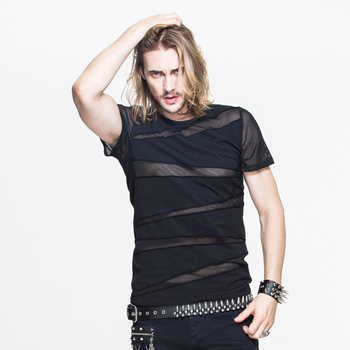 Devil Fashion New Arrival Punk Sexy Hollow Out Man T-Shirt Gothic Black Short Sleeve O-Neck Tee Shirt Tops 2020 Spring Summer black fashion v neck cut out t shirt