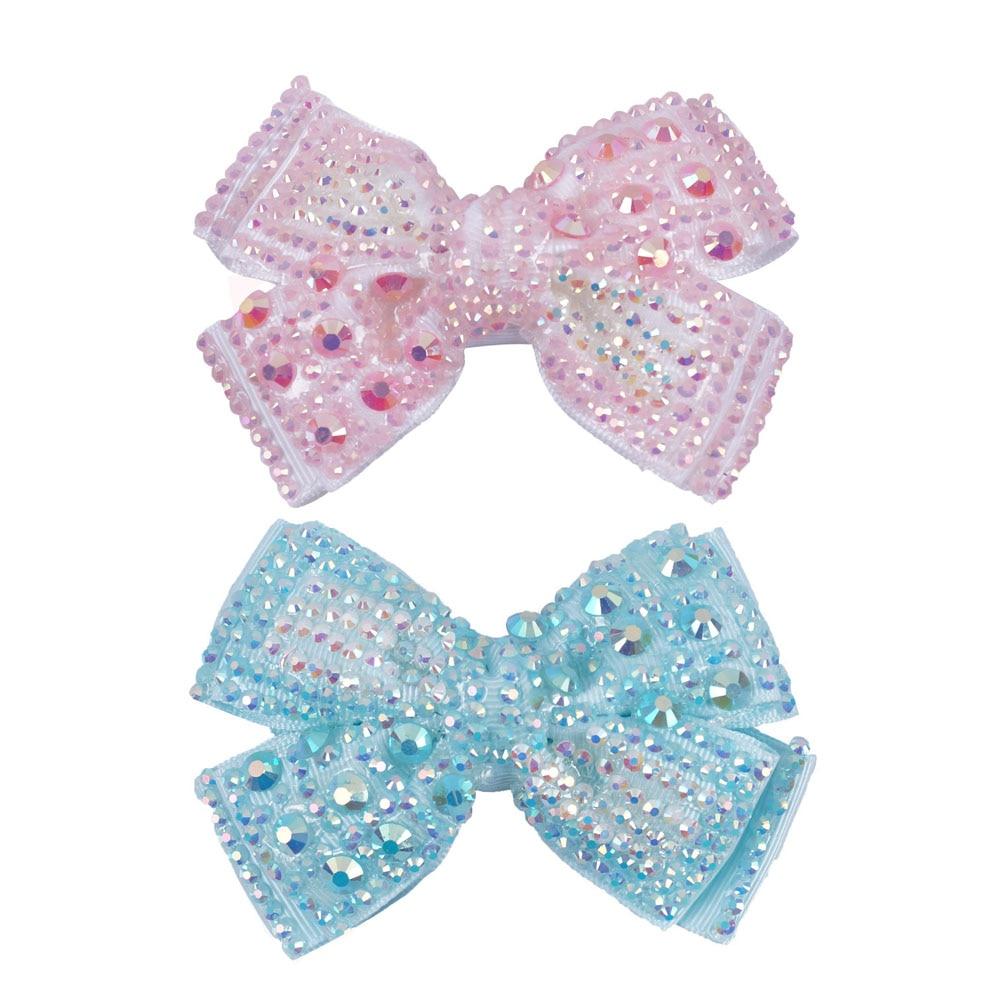Baby Girls Crown Kids Hair Clip Ribbon Bowknot Hairpin Rhinestone Zircon Clip