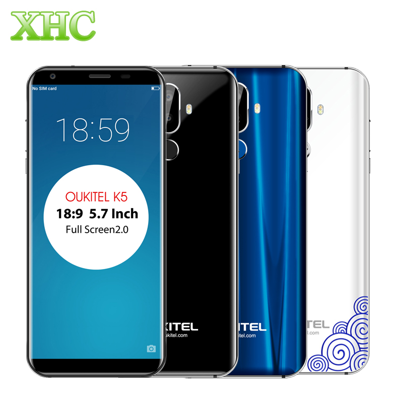 Oukitel K5 18:9 Display 5.7'' Android 7.0 2GB RAM 16GB ROM Smartphone MTK6737T Quad Core 13MP Dual SIM Fingerprint Mobile Phones