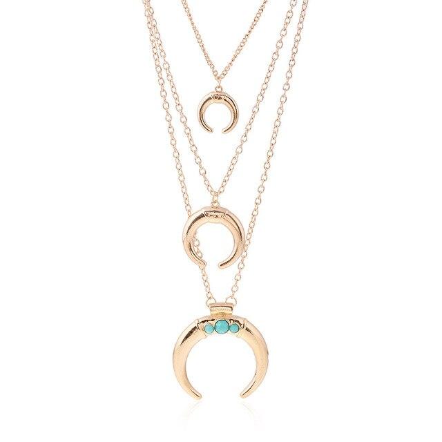 aae5ae5a4e45 Nuevo chapado en oro plata collar de cadena collar maxi cuerno collares y  colgantes multicapa collar