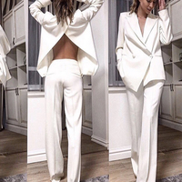 BH5815 Wholesale Cheap Open Back Flare Trousers Button White Black Long Sleeve Sexy Blazer Two Pieces Women Office Suit Sets