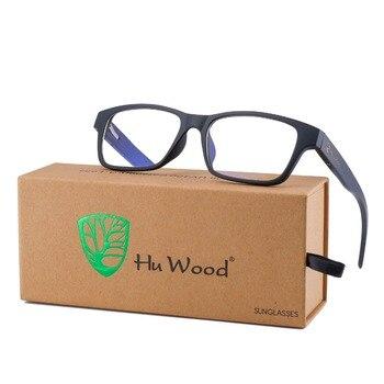 HU-gafas sencillas de madera de bambú Natural para hombre, lentes cuadrados de madera de cebra para conducción, protección Anti-azul, GR6002